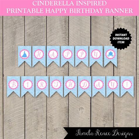 Printable Birthday Banner With Name | instant download cinderela inspired happy birthday banner