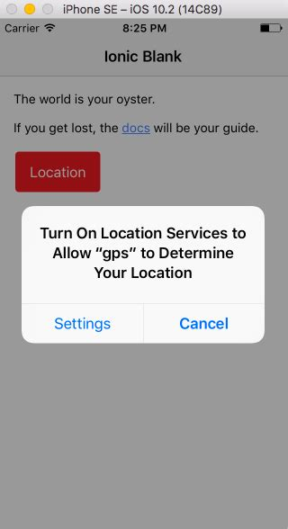 ionic tutorial ios ionic2 framework location enable request using the