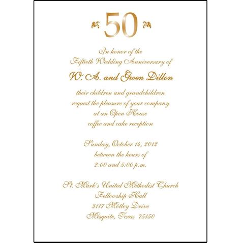 50th wedding anniversary card templates 50th anniversary invitations template resume builder