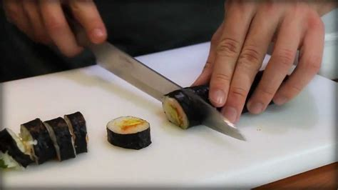 how to cut sushi rolls youtube