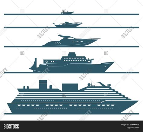 flat icons boats ranked by size vector photo bigstock - Types Of Boats By Size