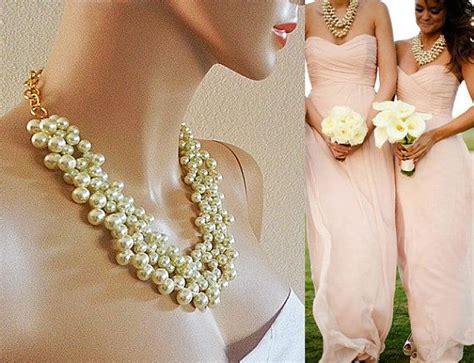 Wedding Jewelry For Bridesmaids by Bridesmaid Pearl Necklace Bridal Chunky Wedding Bib