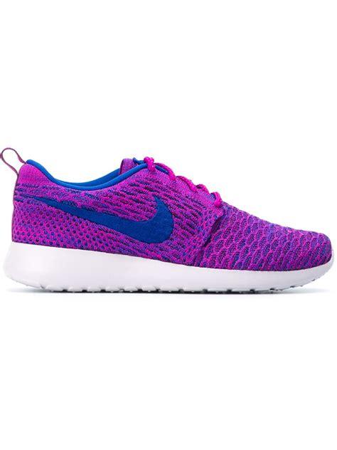 flyknit sneakers nike roshe run flyknit sneakers in pink pink purple