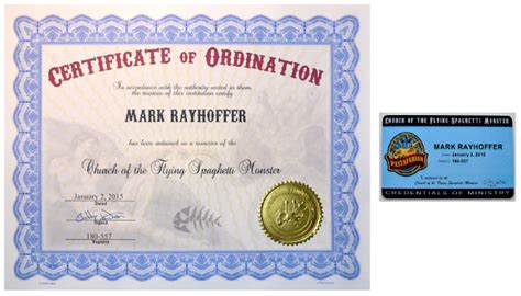 Template For Ordianation Wallet Cards by Church Of The Flying Spaghetti Certificates Of
