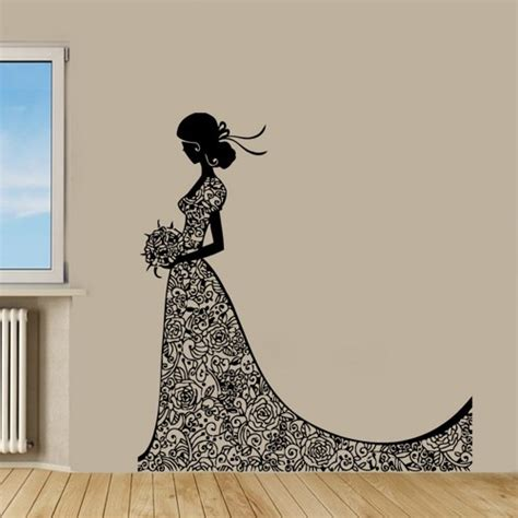 home decor wall art stickers bride wall decal fashion girl in wedding dress beauty