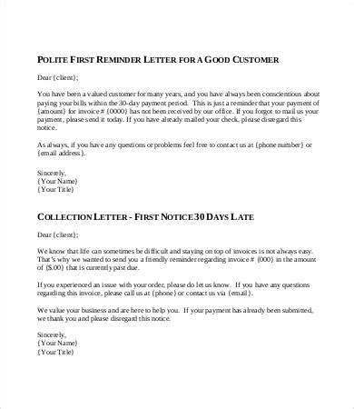 Credit Collection Reminder Letter friendly collection letter template letter template 2017