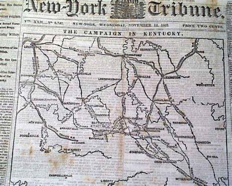 kentucky map civil war 1862 kentucky civil war map newspaper perryville