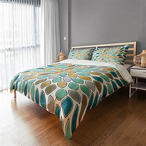 teal and gold bedding petals duvet cover in blue teal gold bed bath beyond