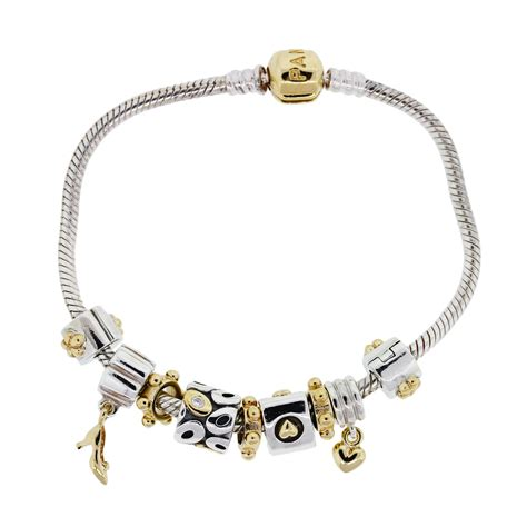 charms and for jewelry pandora 14k yellow gold and sterling silver charm bracelet