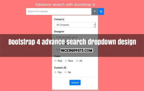 bootstrap layout with dropdown bootstrap 4 advance search dropdown design demo
