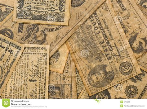 colonial money stock photo image  paper historic