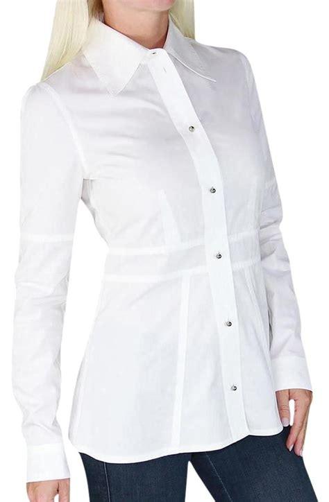 Blouse Lv Shirt louis vuitton white new vuitton peplum blouse button up sleeve lv xs button