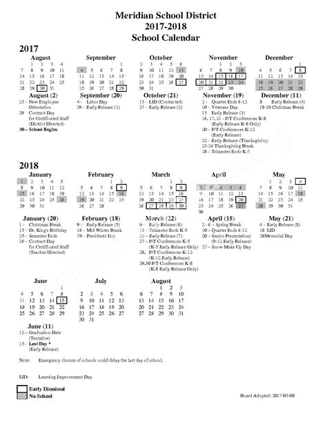 Bellingham School District Calendar Meridian School District Calendars Bellingham Wa