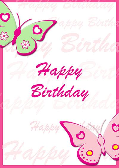 printable birthday cards girl free printable birthday cards