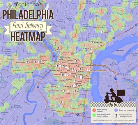 worst sections of philadelphia philadelphia food delivery heatmap by rentenna check out