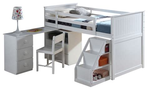 Modern Loft Bed With Desk Children S Wooden Loft Bed With Pull Out Desk White Contemporary Loft Beds By Adarn