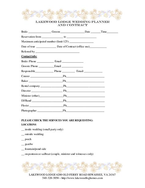 free wedding planner templates 7 best images of printable wedding planner contract