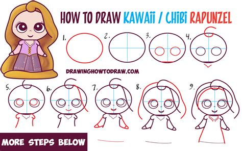 Drawing Step By Step Disney Characters by How To Draw Kawaii Chibi Rapunzel From Disney S Tangled In