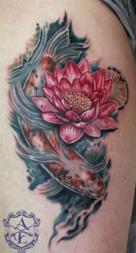 lotus koi tattoo meaning lotus flower with koi fish tattoo by seanspoison