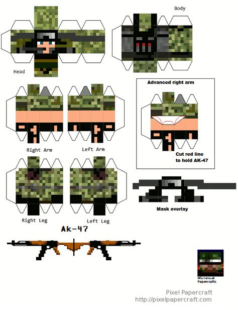 Papercraft Weapons Templates - papercraft army soldier