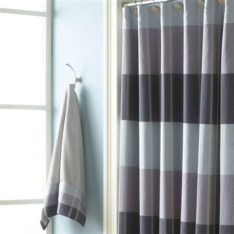 Modern Bathroom Shower Curtains Modern Bathroom With Croscill Fairfax Slate Shower Curtain And Stainless Steel Bar Curtain Rods