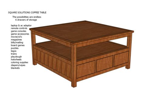 white square solutions coffee table plans diy projects