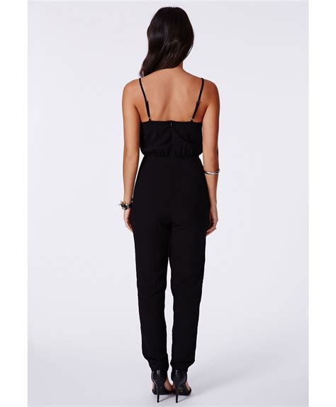 Legged Jumpsuits by Missguided Apollinara Strappy Slim Leg Jumpsuit In Black