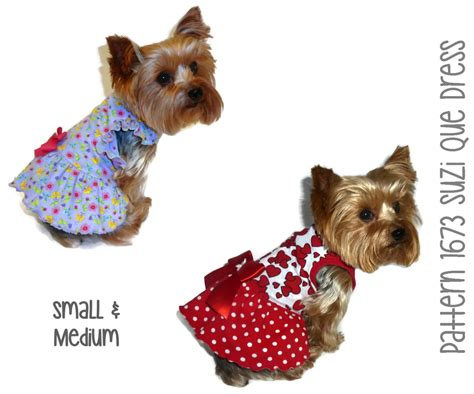 pattern clothes dog suzi que dog dress pattern 1673 small medium dog clothes