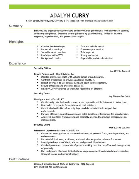 resume cover letter sles for security officer best security guard resume exle livecareer