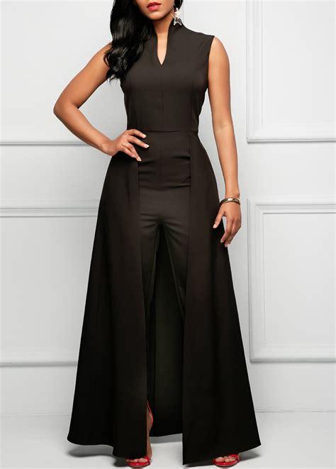 plus size lace overlay sleeveless romper dress black split neck sleeveless overlay embellished jumpsuit