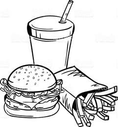 fast food clipart black white clipartxtras