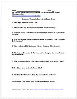d day primary source worksheet of normandy june