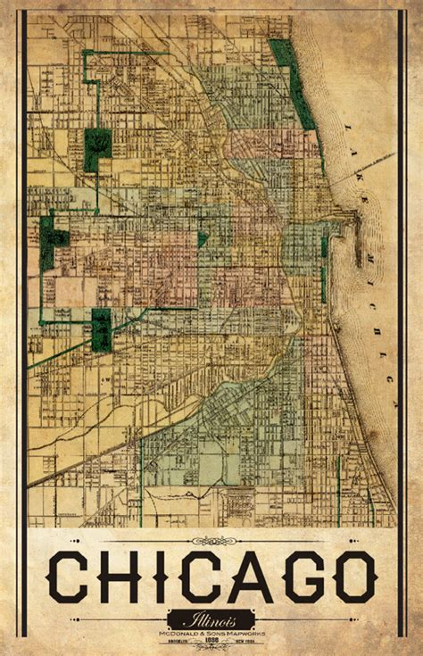 vintage chicago map chicago vintage remixed map i lost my
