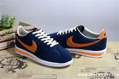 Nike Classic Cortez Blue Navy Orange nike cortez 2017 suede mens running shoes navy blue orange