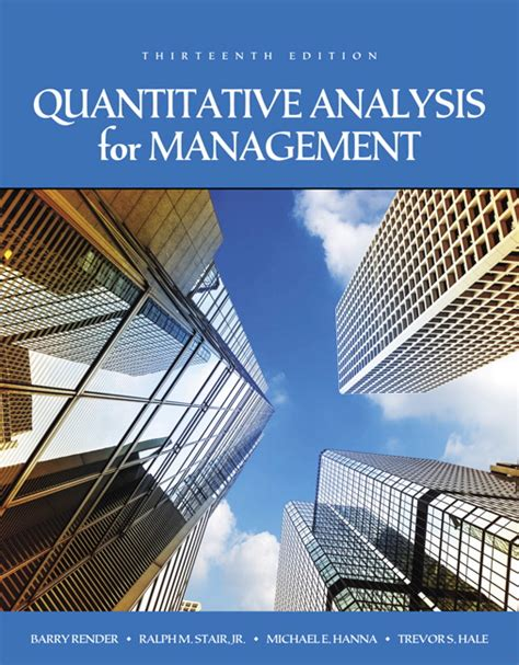 Quantitative Analysis Book For Mba by Render Stair Hale Quantitative Analysis For