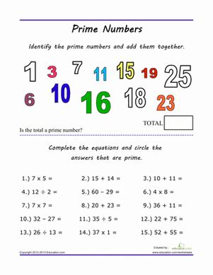 Prime Numbers Worksheet 5th Grade by Finding Prime Numbers Worksheet Education