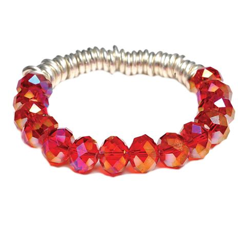 one button orange beaded stretch bracelet at jewellery4