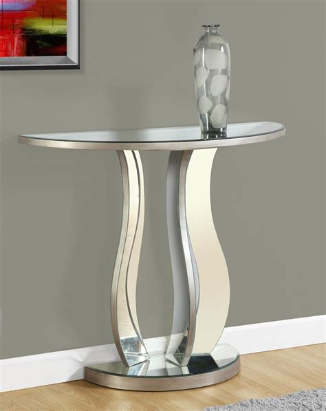 brushed silver table console table 36 quot l brushed silver mirror monarch