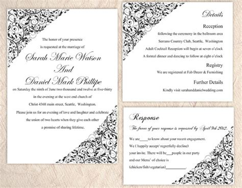 word templates for wedding invitations diy wedding invitation template set editable word file