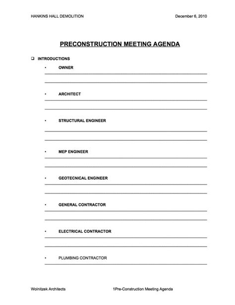 pre construction meeting agenda template 28 images of meeting pre meeting checklist template