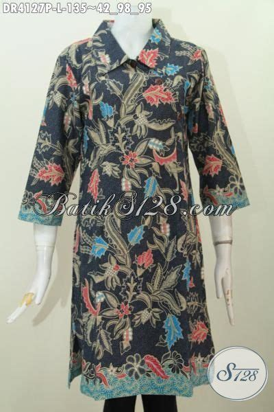 Dress Dr Dress Wanita Katun Hitam Limited batik kancing miring dasar hitam motif bunga model baju