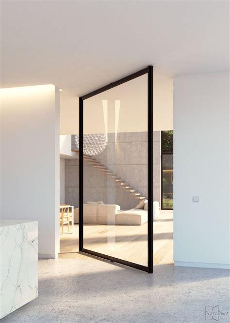 Pivoting Front Door Quot Steel Look Quot Glass Pivot Door With Central Axis Pivoting Hinge Portapivot Portapivot
