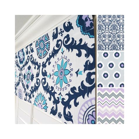 Navy Blue And Gray Valance Navy Blue Window Valance Grey Valance Lavender Valance Blue