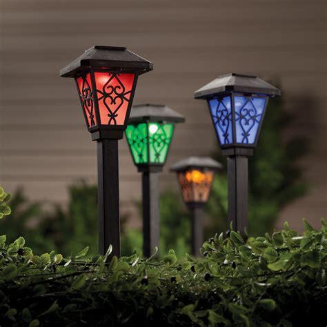 color changing solar lights set of 6 solar yard lights
