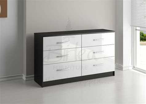birlea lynx black with white gloss 6 drawer wide chest of