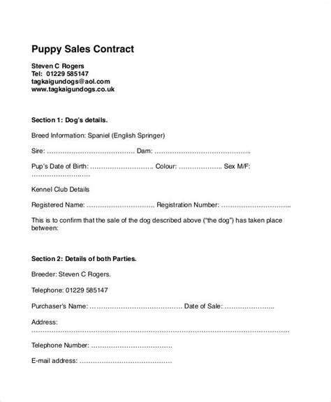 puppy sale contract pdf puppy sales contract puppy contract sales agreement puppy info click image for