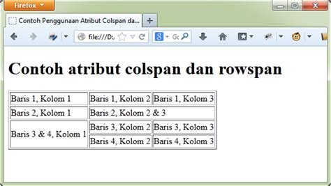 cara membuat tabel rowspan html cara menggabungkan sel tabel html atribut rowspan and