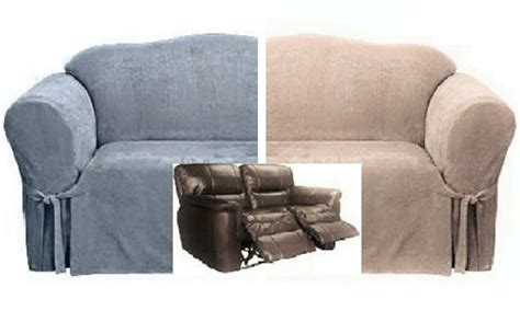dual reclining loveseat slipcover suede blue or taupe sure