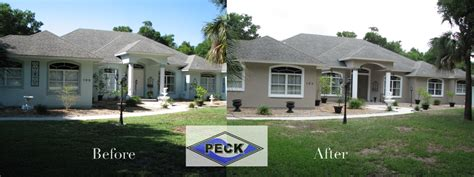 before and after exterior house painting photo by peck painting