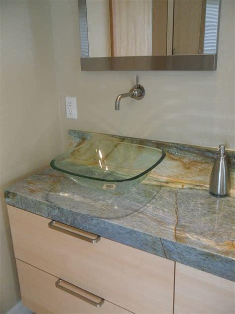 Floating Countertop by Floating Vanity And Granite Countertop Bathroom By Designers